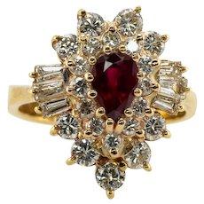 Diamond Ruby Ring 14K Gold Ballerina Estate
