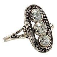 Old mine Diamond Ring 14K White Gold Art Deco 1.30 TDW