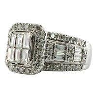 Diamond Ring 14K White Gold 2.30 TDW Cluster Engagement