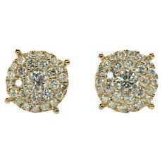 Diamond Earrings Cluster Studs by Odelia 14K Gold 1.10 TDW
