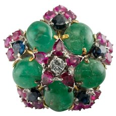 Diamond Ruby Sapphire Emerald Ring 18K Gold Flower Set available