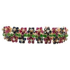 Diamond Ruby Sapphire Peridot Bracelet 14K Gold Flower Set available