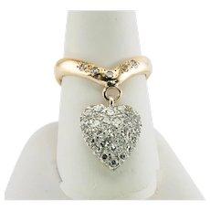 Diamond Ring Dangle Heart Chevron Band 14K Gold