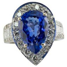 Diamond Tanzanite Ring 7.5cts Pear cut 18K White Gold