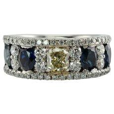 Diamond Sapphire Ring Band 14K White Gold