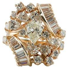 Diamond Wedding Set Ring Band Wrap Cage Erev 14K Gold
