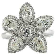 Diamond Ring 18K White Gold Vintage Floral Star 2.78 TDW