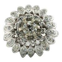 Diamond Ring Old mine 14K White Gold Flower Vintage Cluster