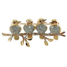 Diamond Tiffany & Co Birds on Branch Brooch Pin 18K Gold Platinum