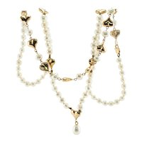 14K Gold Heart Pearl Necklace Convertible to Bracelet