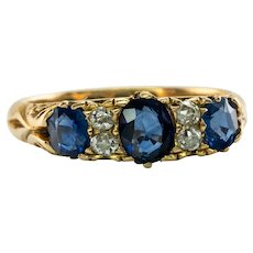 18K Gold Sapphire Old mine Diamond Ring Band Victorian Antique