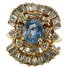Natural Diamond Sapphire Ring 14K Gold Ballerina