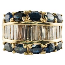 Diamond Sapphire Ring 18K Gold Wide Band