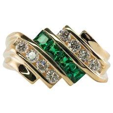Mens Diamond Natural Emerald Ring 14K Gold Band