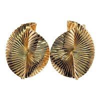 Tiffany & Co Retro 14K Gold Flute Ribbon Fan Earrings Clips Clip On