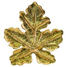 Tiffany & Co Retro Leaf Brooch Pin 18K Gold