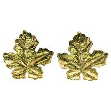 Tiffany & Co Retro Leaf Earrings 18K Gold