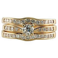 Diamond Wedding Set Ring Band Wrap Cage Spark 14K Gold 1.01 TDW