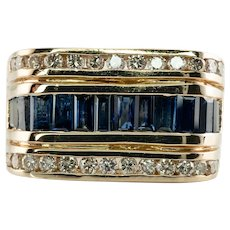 Natural Diamond Sapphire Ring 14K Gold Band