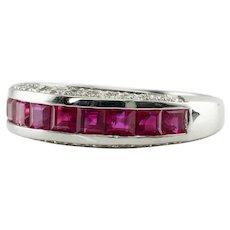 Diamond Natural Ruby Ring Band 18K White Gold