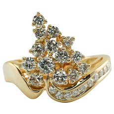 Diamond Ring POM 18K Gold Cluster 1.07 TDW Vintage