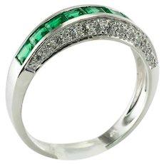 Diamond Natural Emerald Ring Band 18K White Gold