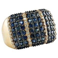 Natural Diamond Sapphire Ring 14K Gold Wide Band Estate BH