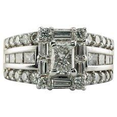 Diamond Ring 18K Gold 2.29 TDW Cluster Engagement