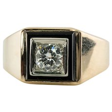 Mens .50ct Diamond Ring Black Onyx 14K Gold Band Solitaire by Rosenthal & Kaplan