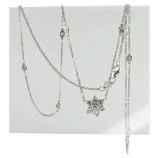 Diamond Necklace by the Yard Station 14K White Gold 1.18 cts 20 inches Long