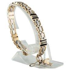 Mens Diamond Bracelet Link 14K Gold 36.0 grams 8.5 in Long