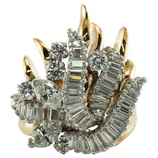 Diamond Ring 18K Gold Cocktail 3.00 TDW Vintage Heavy Cluster