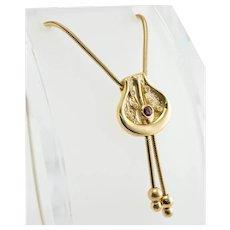 Ruby Diamond Pendant Necklace 14K Gold Snake Chain