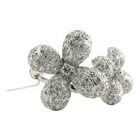 Diamond Ring 18K White Gold Flower Cocktail 3.30 TDW