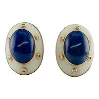Lapis Diamond Earrings Camphor Crystal 14K 18K Gold Cocktail Mid-Century