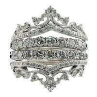 Crown Tiara Diamond Ring 14K White Gold FD 1.76 TDW