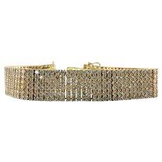 Diamond Bracelet 18K Gold Wide 6 Rows 22.13 TDW