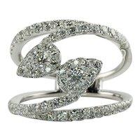 Diamond Ring 14K White Gold Cocktail Cluster 1.23cts TDW BEN