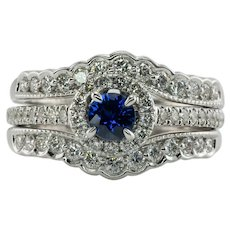 Diamond Sapphire Ring 14K White Gold Band