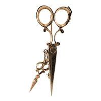 Scissors Brooch Pin 14K Pink Gold Hairstylist Hairdresser Vintage