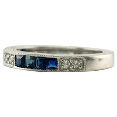 Diamond Sapphire Band Ring 14K White Gold