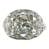 Old Mine Diamond Ring Platinum 2.05 TDW Vintage Engagement