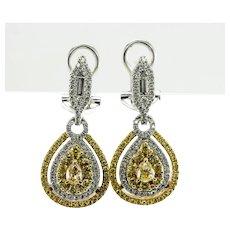 White Yellow Diamond Earrings 18K Gold Dangle 2.60 TDW