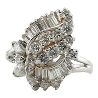 Diamond Ring 14K White Gold Vintage Cluster 1.73 TDW