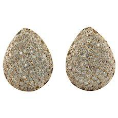 Diamond Earrings 14K Gold Cluster Pear shape 4.11 TDW