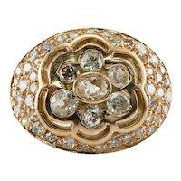Diamond Ring Old Mine 14K Rose Gold Antique