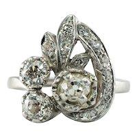 Old Mine Diamond Ring 14K White Gold Vintage 1.55 TDW