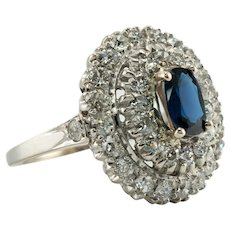 Old mine Diamond Sapphire Ring Vintage 14K White Gold