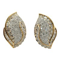 Diamond Earrings 18K Gold Cluster Floral 3.08 TDW