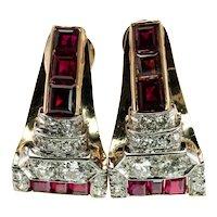 Natural Ruby Diamonds Earrings 14K Gold Retro Vintage